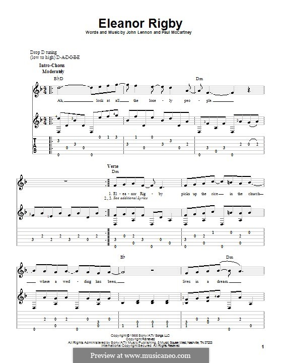 Eleanor Rigby (The Beatles): For guitar with tabulature and lyrics by John Lennon, Paul McCartney