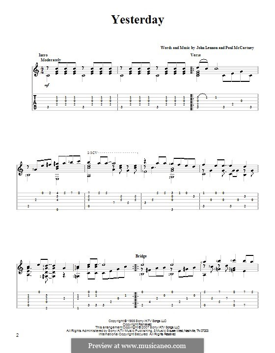Yesterday (The Beatles): Гитарная табулатура (D Major) by John Lennon, Paul McCartney