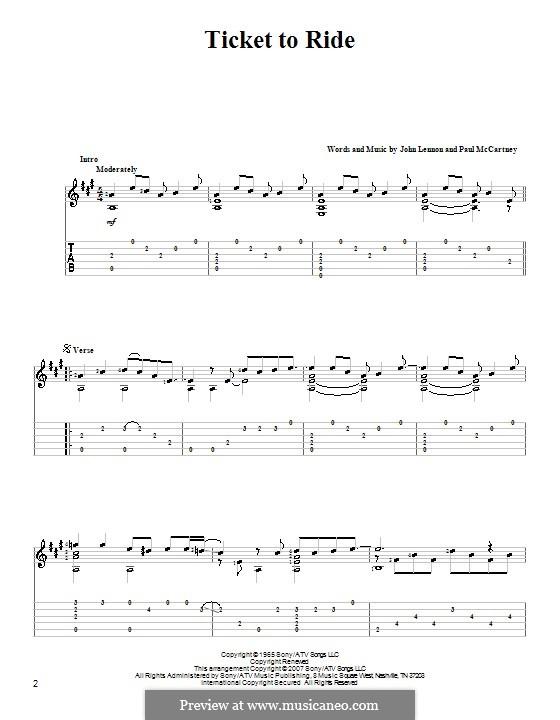 Ticket to Ride (The Beatles): Гитарная табулатура (ноты высокого качества) by John Lennon, Paul McCartney