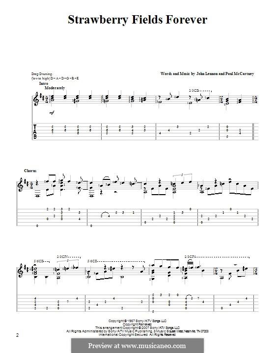 Strawberry Fields Forever (The Beatles): Гитарная табулатура by John Lennon, Paul McCartney