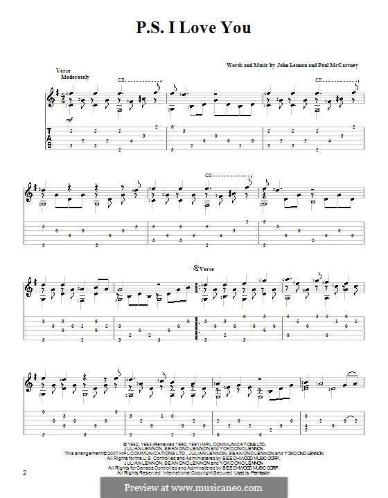 P.S. I Love You (The Beatles): Гитарная табулатура by John Lennon, Paul McCartney