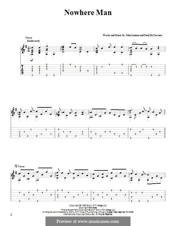 Nowhere Man (The Beatles): Для гитары by John Lennon, Paul McCartney