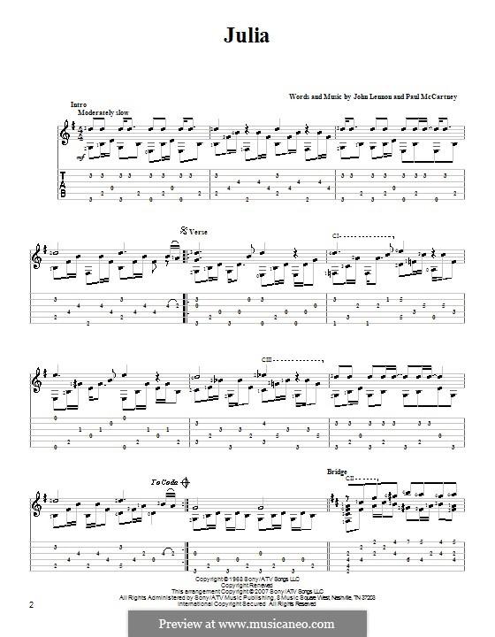 Julia (The Beatles): Гитарная табулатура by John Lennon, Paul McCartney