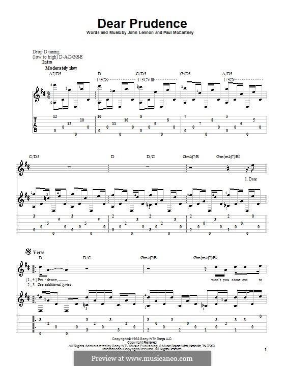 Dear Prudence (The Beatles): Для гитары by John Lennon, Paul McCartney