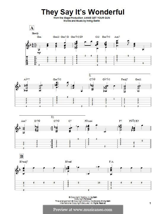 They Say It's Wonderful: Для гитары by Ирвинг Берлин