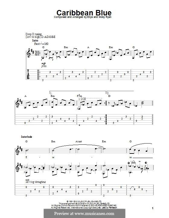 Caribbean Blue: Для гитары с табулатурой by Enya, Nicky Ryan
