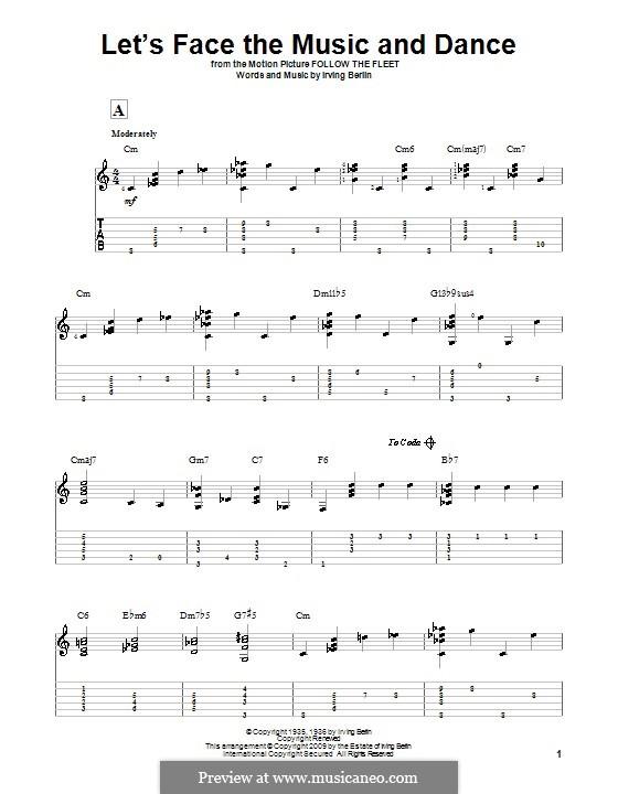 Let's Face the Music and Dance: Гитарная табулатура by Ирвинг Берлин