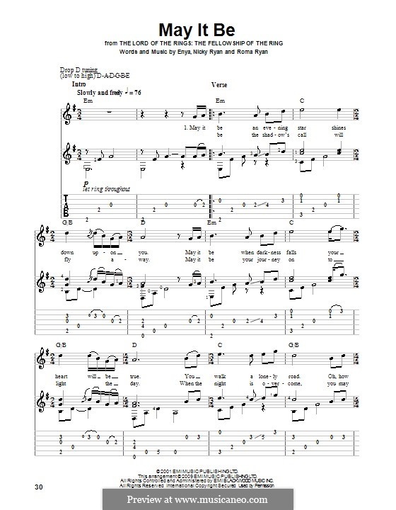 May It Be (Enya): Гитарная табулатура by Eithne Ni Bhraonain, Nicky Ryan, Roma Ryan