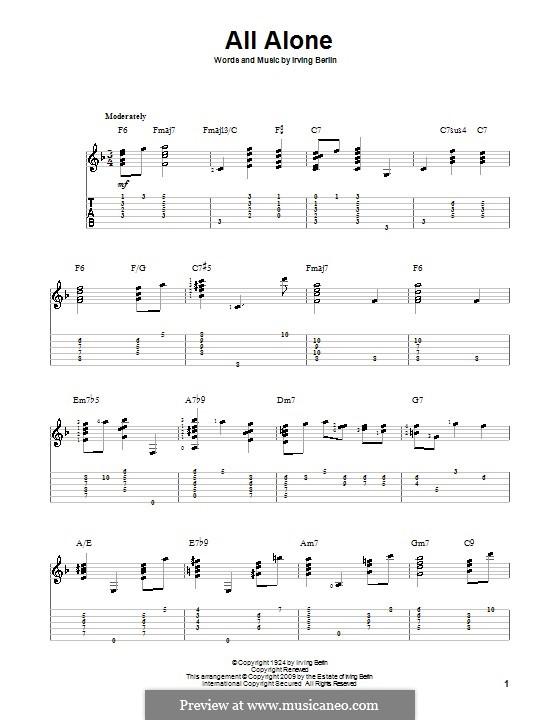 All Alone: Гитарная табулатура by Ирвинг Берлин