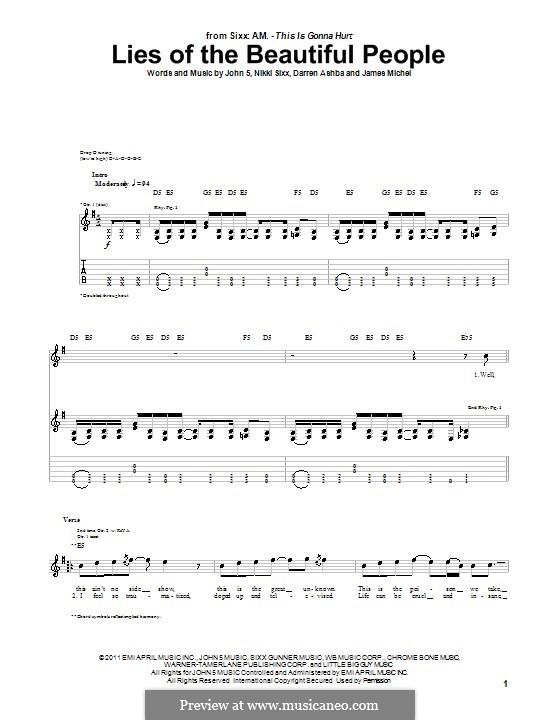Lies of the Beautiful People (Sixx A.M.): Гитарная табулатура by Darren Ashba, James Michel, John 5, Nikki Sixx