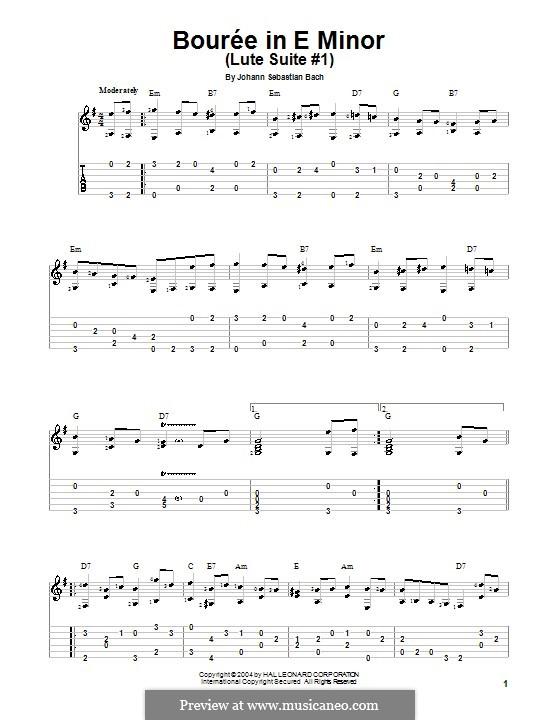 Сюита для лютни (или клавесина) ми минор, BWV 996: Бурре. Версия для гитары (с табулатурой) by Иоганн Себастьян Бах