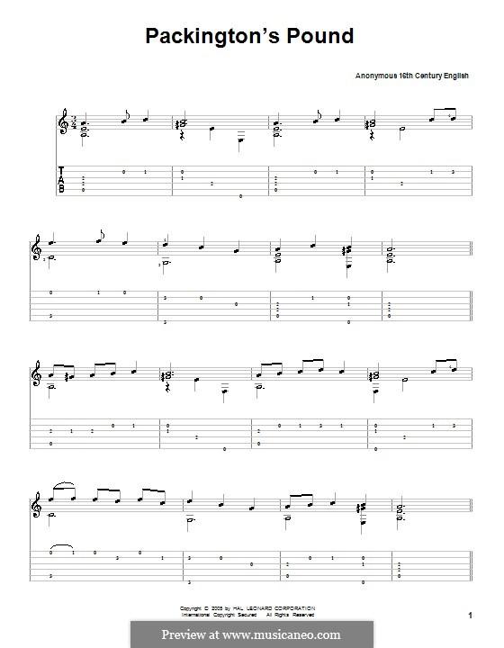 Packington's Pound: Гитарная табулатура by Unknown (works before 1850)