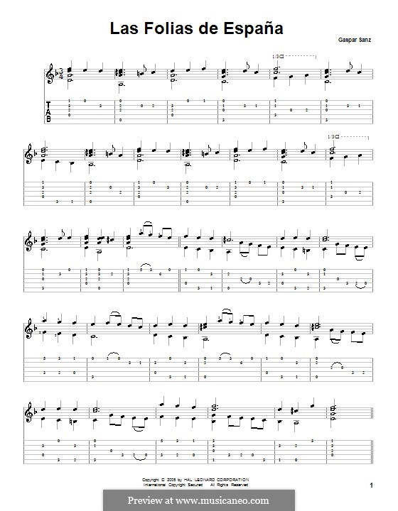 Folias: Для гитары (с табулатурой) by Гаспар Санц