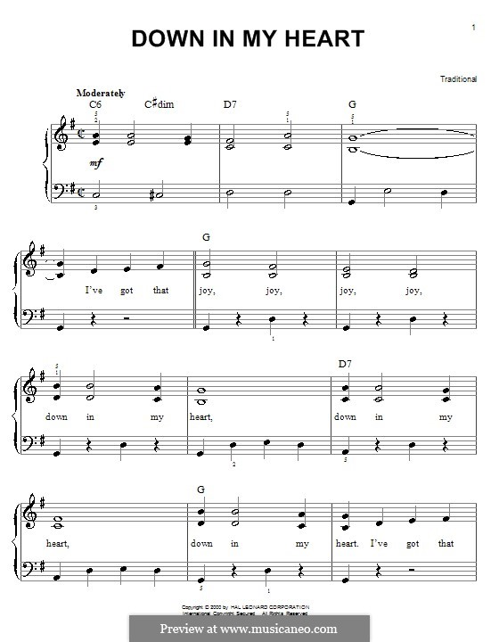 Down in My Heart: Для фортепиано (легкий уровень) by folklore