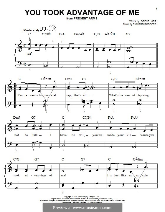 You Took Advantage of Me: Для фортепиано (легкий уровень) by Richard Rodgers