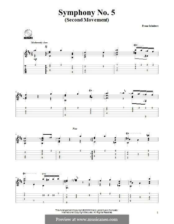 Симфония No.5 си-бемоль мажор, D.485: Часть II (Тема). Версия для гитары by Франц Шуберт