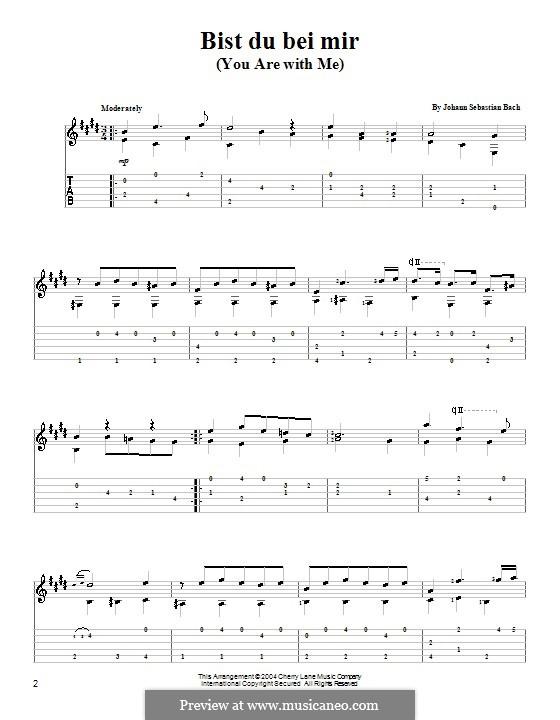 No.25 Bist du bei mir (You Are with Me), Printable scores: Для гитары (с табулатурой) by Иоганн Себастьян Бах
