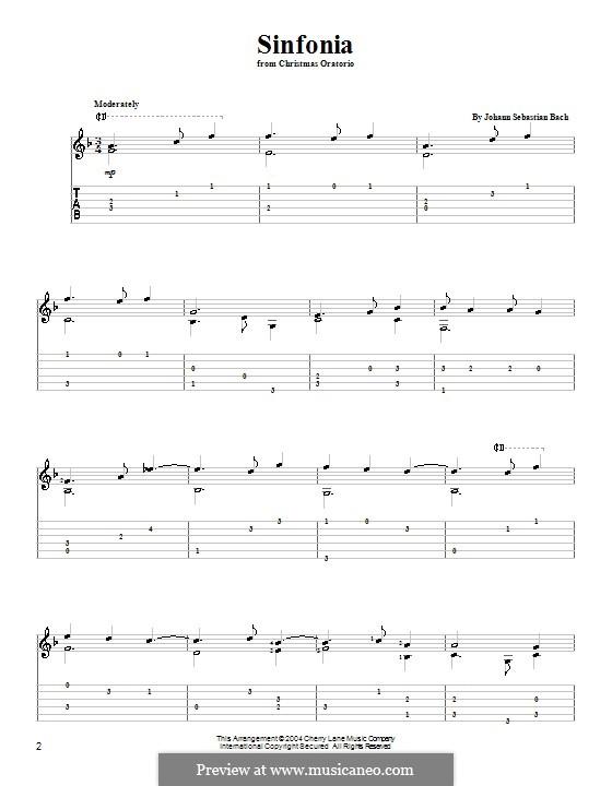 Рождественская оратория, BWV 248: Sinfonia, for guitar by Иоганн Себастьян Бах