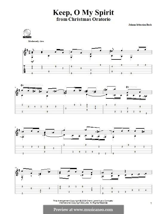 Рождественская оратория, BWV 248: Keep, o My Spirit, for guitar by Иоганн Себастьян Бах