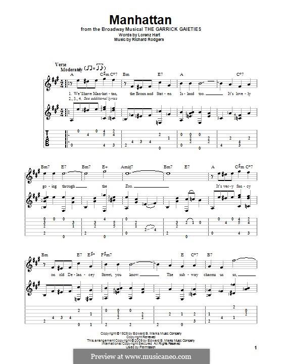 Manhattan: Гитарная табулатура by Richard Rodgers