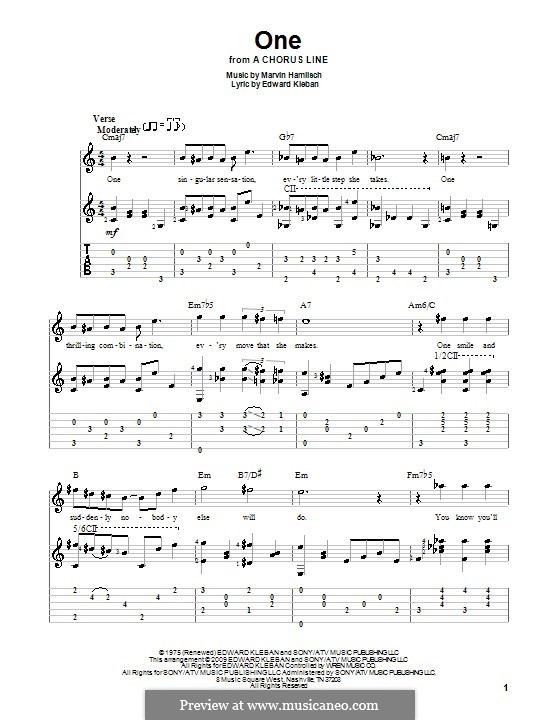 One (from A Chorus Line): Гитарная табулатура by Marvin Hamlisch