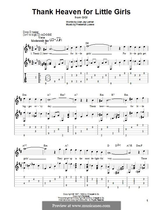 Thank Heaven for Little Girls (Maurice Chevalier): Гитарная табулатура by Frederick Loewe