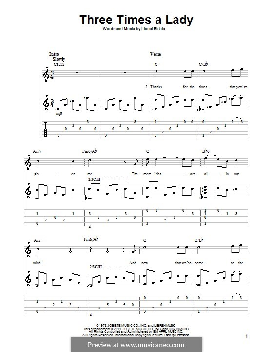Three Times a Lady: Для гитары с табулатурой by Lionel Richie
