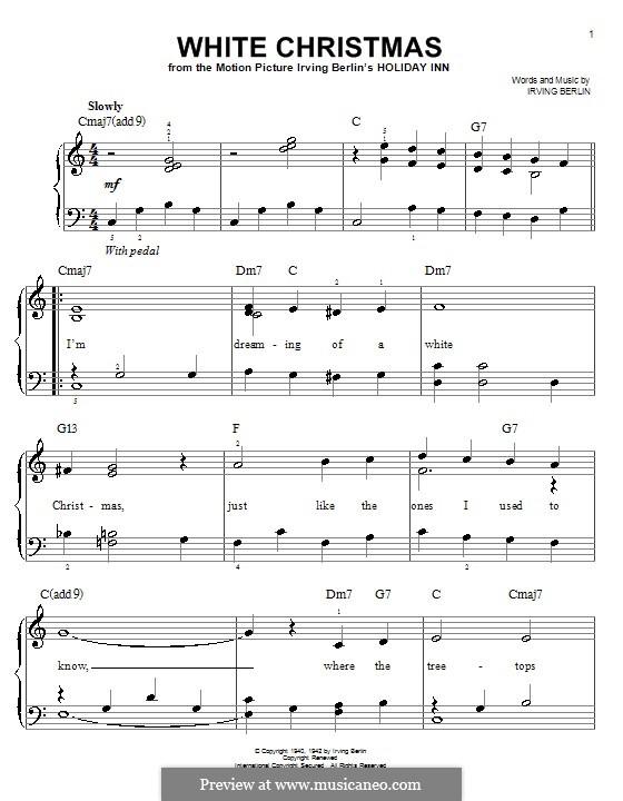 White Christmas, for Piano: Легкая версия для фортепиано by Ирвинг Берлин