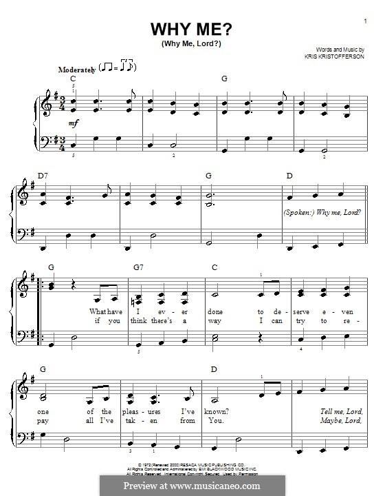 Why Me? (Why Me, Lord?): Для фортепиано (легкий уровень) by Kris Kristofferson