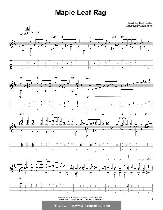 Maple Leaf Rag (Printable Scores): Гитарная табулатура by Скотт Джоплин