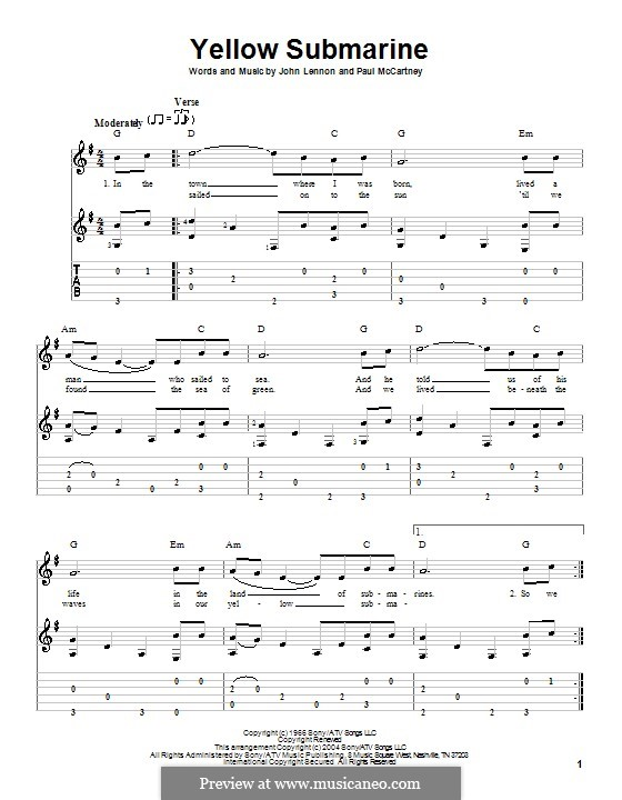 Yellow Submarine (The Beatles): For guitar with tabulature and lyrics by John Lennon, Paul McCartney