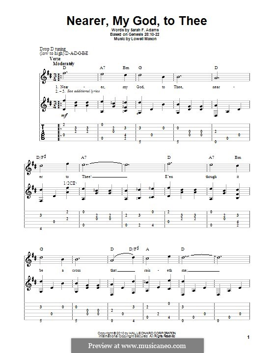 Nearer, My God, To Thee (Printable scores): Для гитары by Lowell Mason