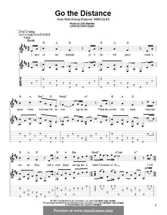 Go the Distance (from Hercules): Для гитары с табулатурой by Alan Menken