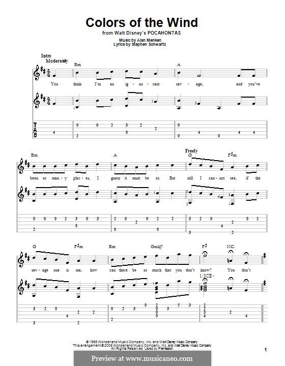 Colors of the Wind: Для гитары с табулатурой by Alan Menken