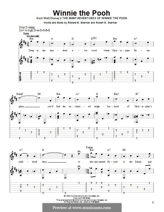 Winnie the Pooh: Гитарная табулатура by Richard M. Sherman, Robert B. Sherman