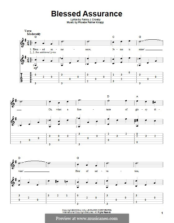 Blessed Assurance: Гитарная табулатура by Phoebe Palmer Knapp