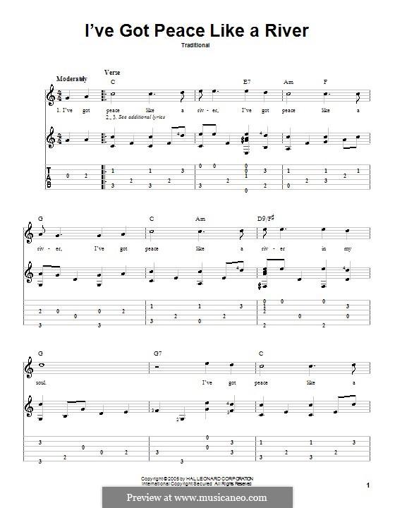 I've Got Peace Like a River: Для гитары by folklore