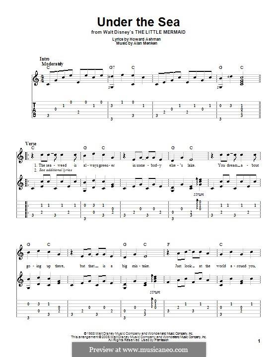 Under the Sea (from The Little Mermaid): Для гитары с табулатурой by Alan Menken
