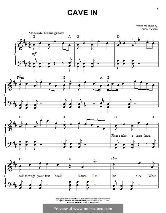 Cave in (Owl City): Для фортепиано (легкий уровень) by Adam Young