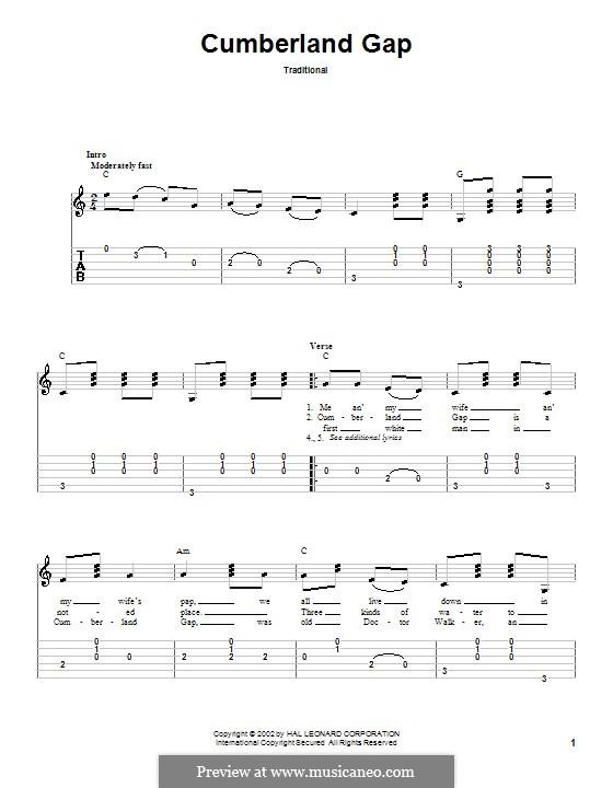 Cumberland Gap: Гитарная табулатура by folklore