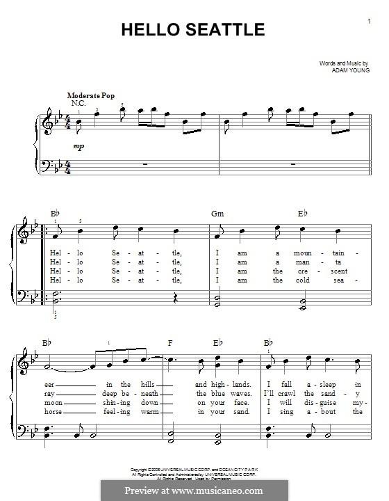 Hello Seattle (Owl City): Для фортепиано (легкий уровень) by Adam Young