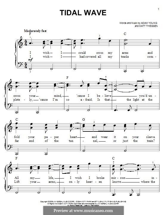 Tidal Wave (Owl City): Для фортепиано (легкий уровень) by Adam Young, Matt Theissen