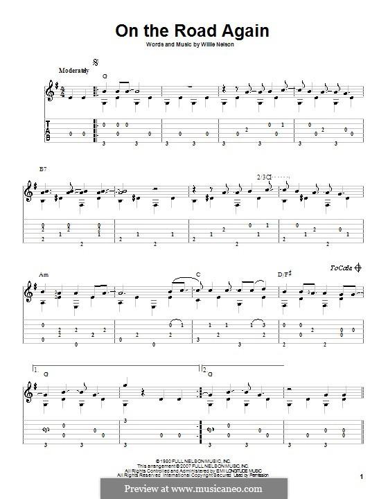 On the Road Again: Для гитары с табулатурой by Willie Nelson
