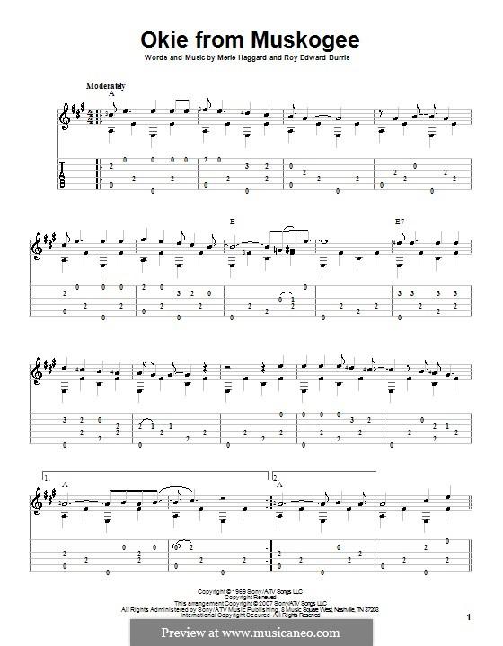 Okie from Muskogee: Гитарная табулатура by Roy Edward Burris