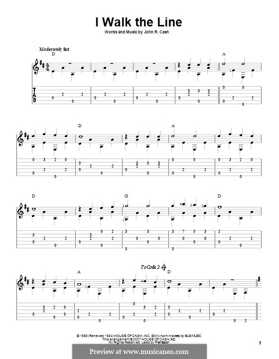 I Walk the Line: Для гитары by Johnny Cash