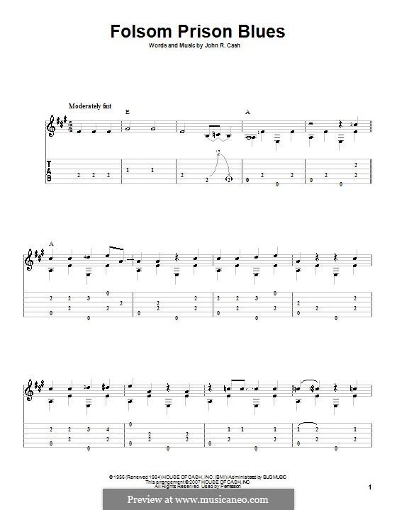 Folsom Prison Blues: Для гитары by Johnny Cash