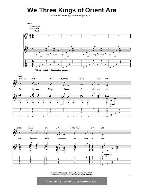 We Three Kings of Orient are: Гитарная табулатура (E Minor) by John H. Hopkins Jr.