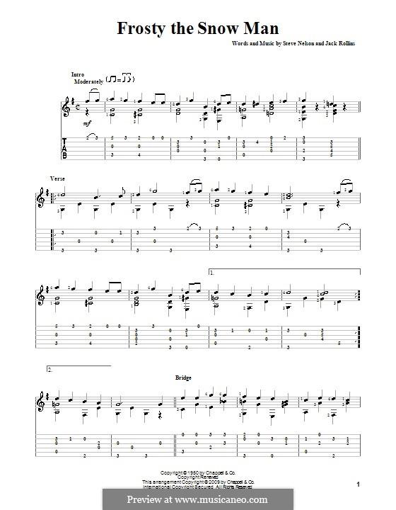 Frosty the Snow Man: Гитарная табулатура (G Major) by Jack Rollins, Steve Nelson
