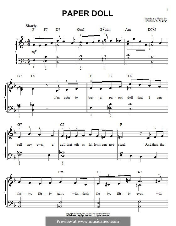 Paper Doll (The Mills Brothers): Для фортепиано (легкий уровень) by Johnny S. Black