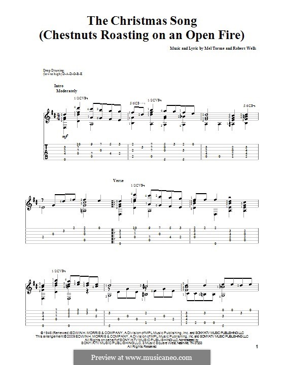 The Christmas Song (Chestnuts Roasting on an Open Fire): Гитарная табулатура by Mel Tormé, Robert Wells